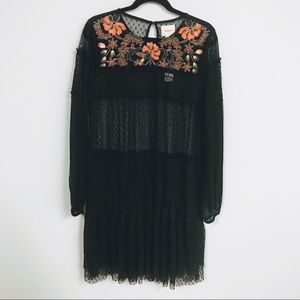 Fits 14/XL 🌋 Anthro—NWT Maeve Black Lace Dress